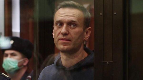Алексей Навальный на заседании суда. Кадр видео