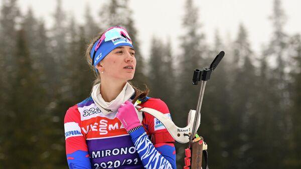 Светлана Миронова (Россия) на тренировке перед началом соревнований на чемпионате мира по биатлону 2021 в словенской Поклюке.
