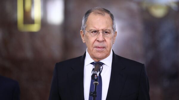 Министр иностранных дел России Сергей Лавров во время мероприятий в честь Дня дипломатического работника в здании МИД РФ