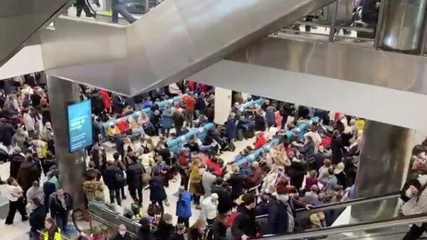 В аэропорту Домодедово скопилось большое число пассажиров, которые не могут улететь из-за сильного снегопада в московском регионе
