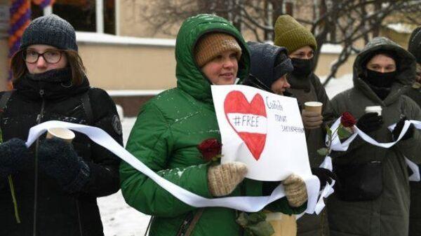 В Москве прошла акция в поддержку уехавшей из РФ Юлии Навальной