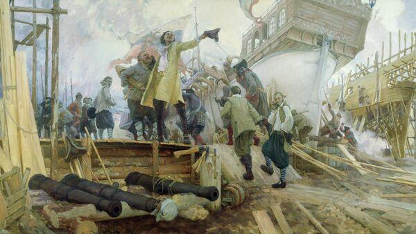 Постройка в Воронеже флотилии для второго Азовского похода Петром I в 1696 г., Юрий Кушевский, 2009 год