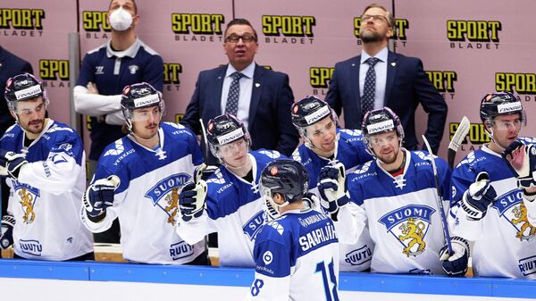 Finland's Vili Saarijarvi celebrates scoring with his team-mates during the Beijer Hockey Games (Euro Hockey Tour) ice hockey match between Finland and Czech Republic in Malmo on February 13, 2021. (Photo by Anders Bjuro / TT NEWS AGENCY / AFP) / Sweden OUT
