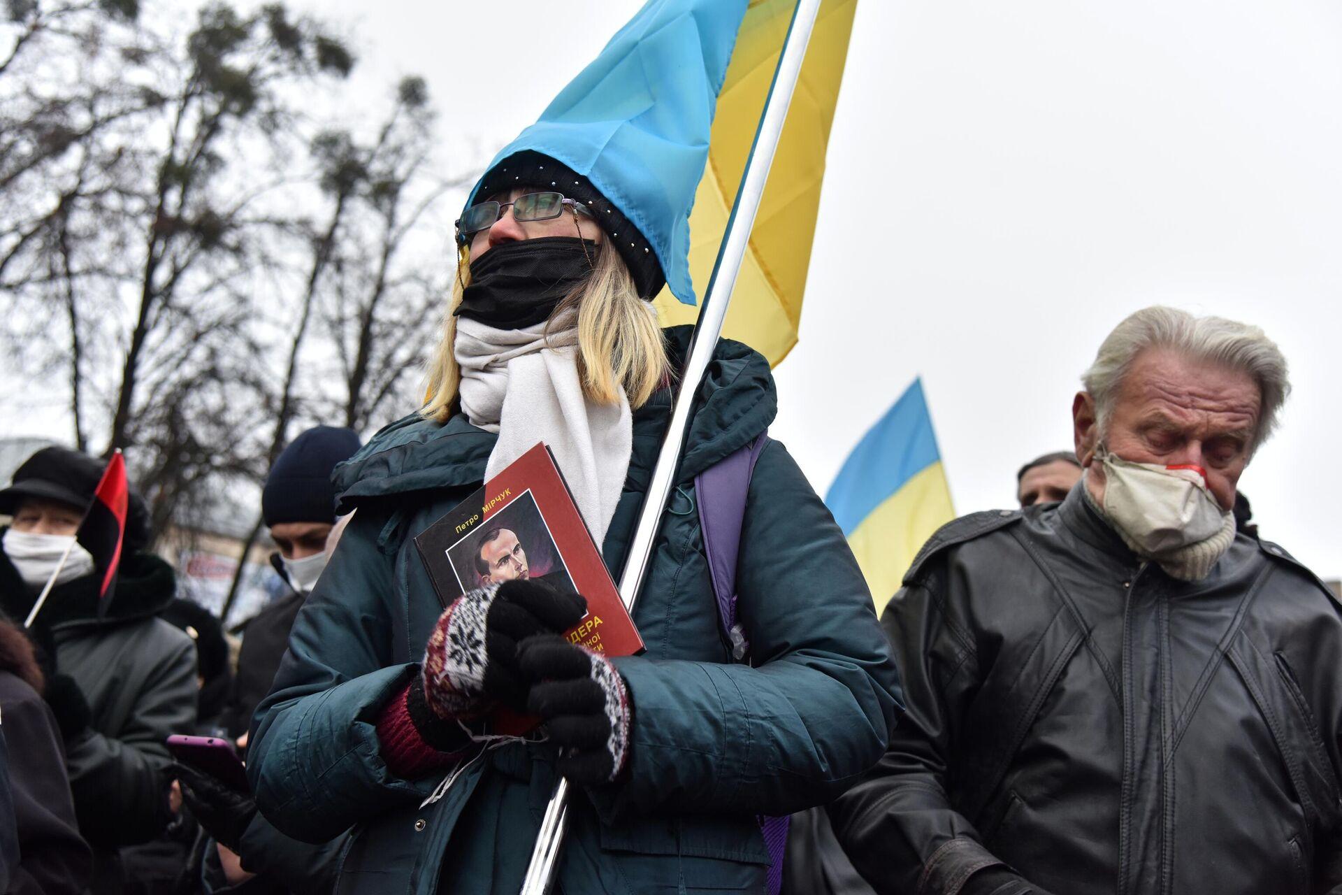 Участники митинга, приуроченного к 112 годовщине со дня рождения Степана Бандеры, во Львове - РИА Новости, 1920, 20.02.2021
