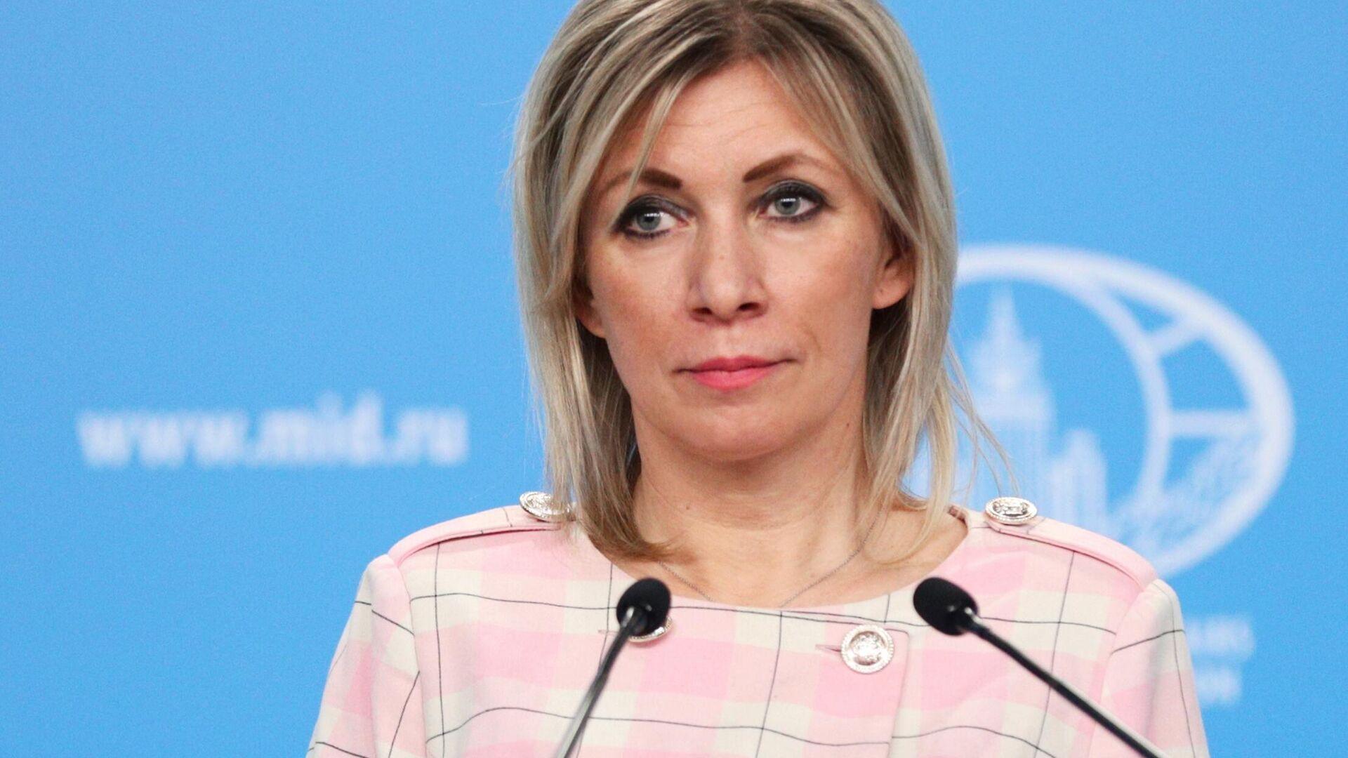Официальный представитель Министерства иностранных дел России Мария Захарова во время брифинга в Москве - РИА Новости, 1920, 26.02.2021