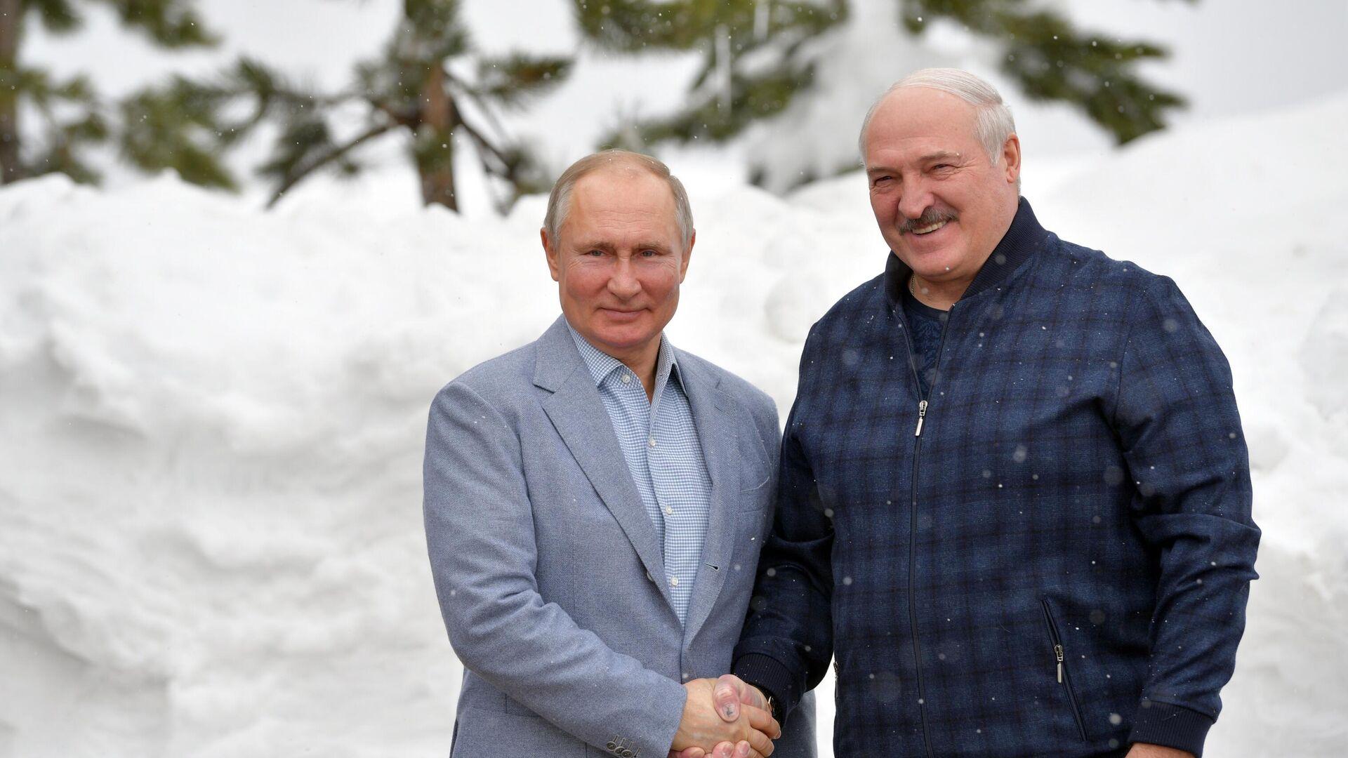 Президент РФ Владимир Путин и президент Белоруссии Александр Лукашенко (справа) во время встречи - РИА Новости, 1920, 22.02.2021