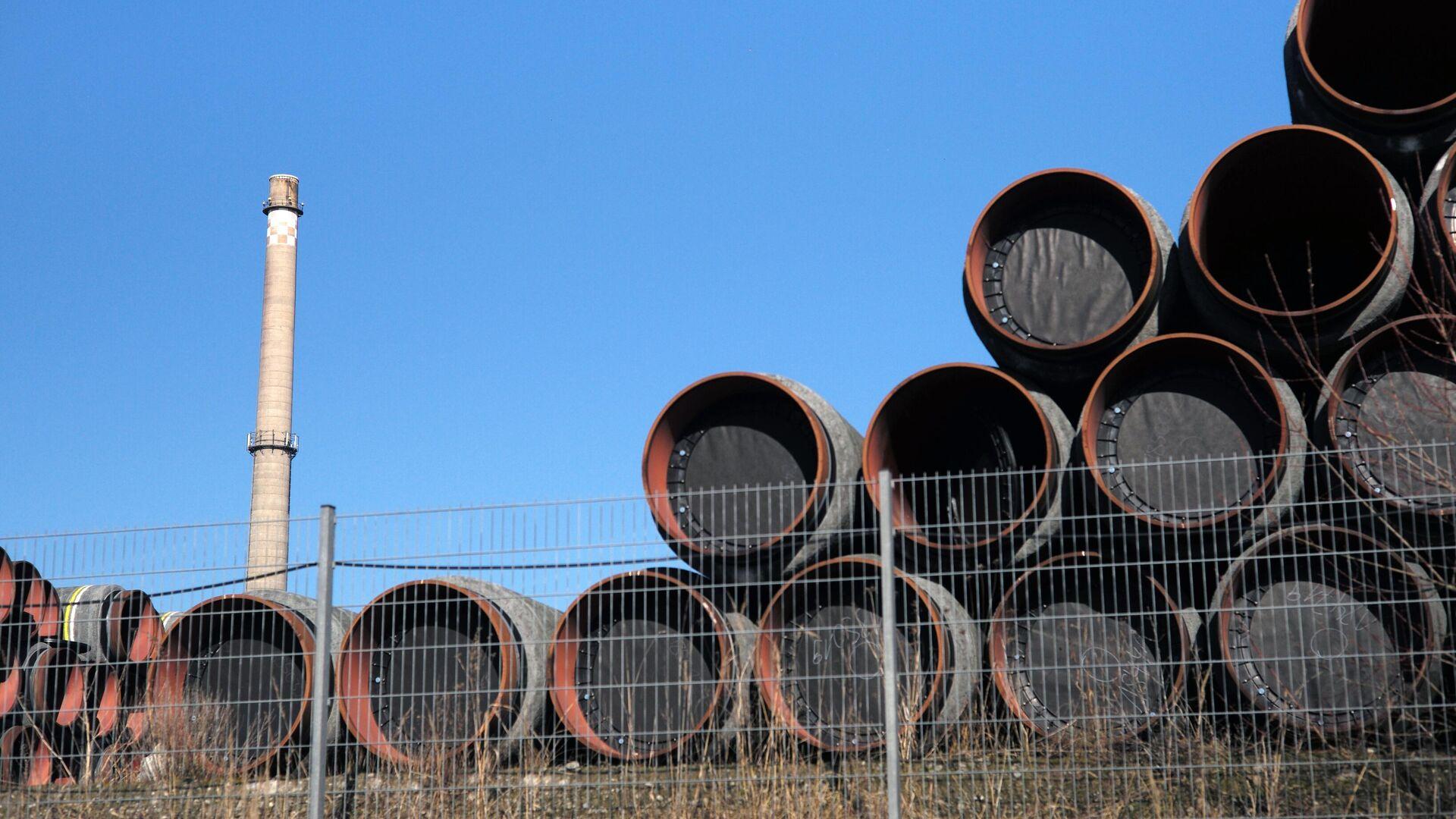 Склад труб для строительства газопровода Северный поток-2 в Германии - РИА Новости, 1920, 02.03.2021