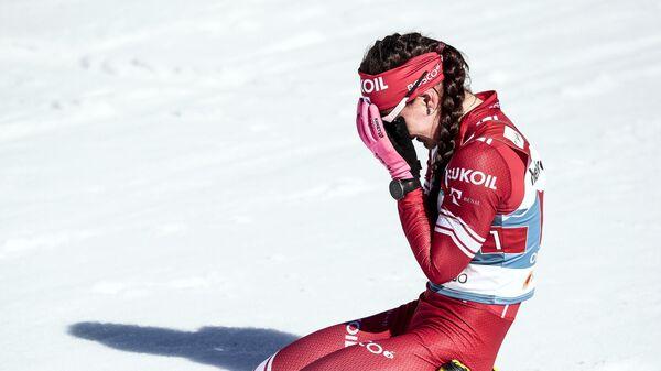 Юлия Ступак на финише командного спринта