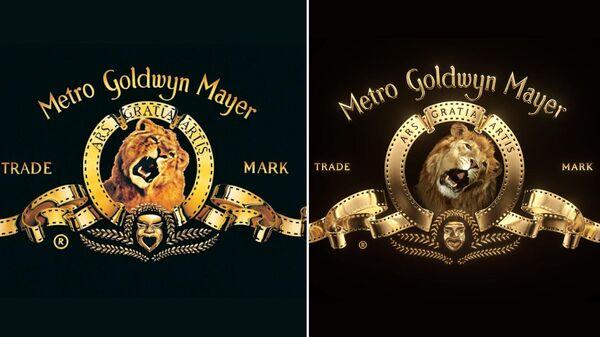 Логотип кинокомпании MGM со львом Лео и его цифровой копией (справа)