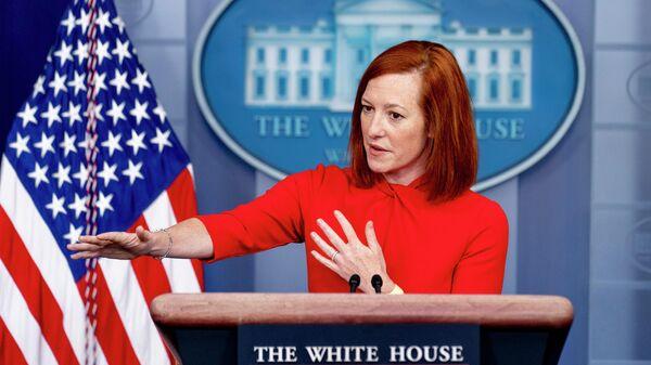 Пресс-секретарь Белого дома Джен Псакии во время брифинга в Белом доме
