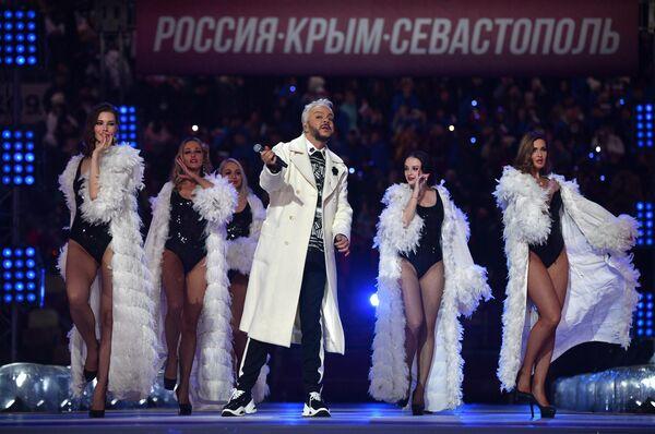 Певец Филипп Киркоров выступает на концерте в Лужниках в честь воссоединения Крыма и России