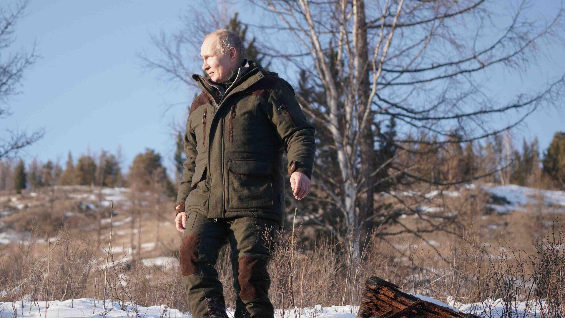Президент РФ Владимир Путин во время прогулки в тайге - РИА Новости, 1920, 24.03.2021