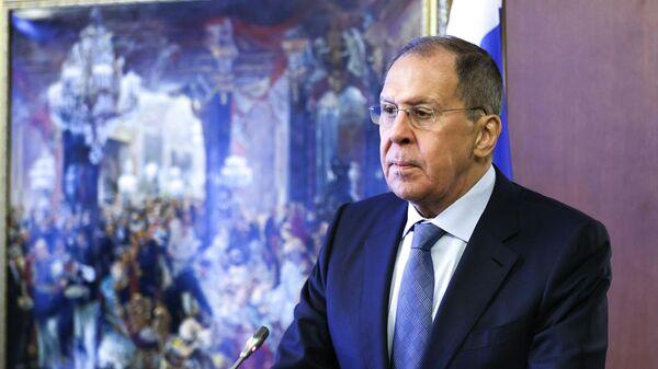 Министр иностранных дел РФ Сергей Лавров во время пресс-конференции