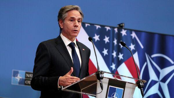 Государственный секретарь США Энтони Блинкен на встрече глав МИД стран НАТО в Брюсселе