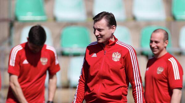Главный тренер молодежной сборной России Михаил Галактионов на тренировке перед матчем молодежного чемпионата Европы 2021 по футболу против сборной Дании.