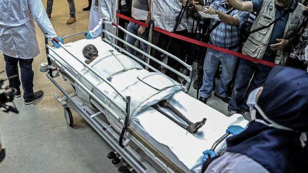 Древнеегипетская мумия Сеннеджема после извлечения из гроба для окуривания в Национальном музее Египта