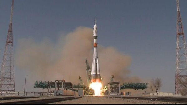 Запуск корабля Ю.А. Гагарин (Союз МС-18) к МКС. Кадр видео