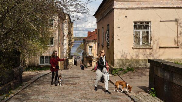 Девушки с собаками в центральной части Выборга