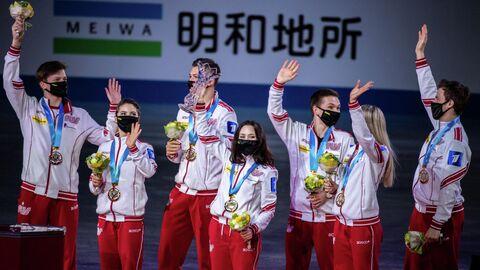 Сборная России на награждении командного чемпионата мира