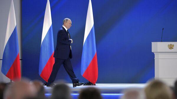 Президент РФ Владимир Путин перед началом выступления с ежегодным посланием Федеральному Собранию