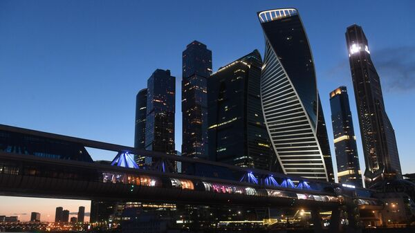Вид на мост Багратион и московский международный деловой центр Москва-Сити