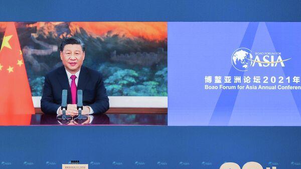 Председатель Китайской Народной Республики Си Цзиньпин выступает на церемонии открытия ежегодной конференции Боаоского азиатского форума
