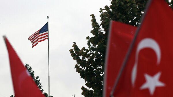 Акция протеста у здания посольства США в Анкаре, Турция