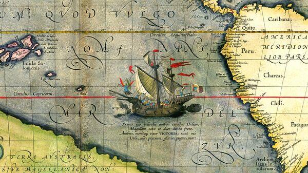 Корабль Ферндинанда Магеллана Виктория на карте Абрахама Ортелия