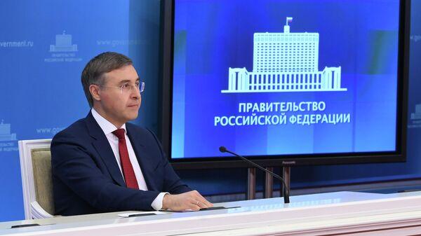 Министр науки и высшего образования РФ Валерий Фальков во время брифинга