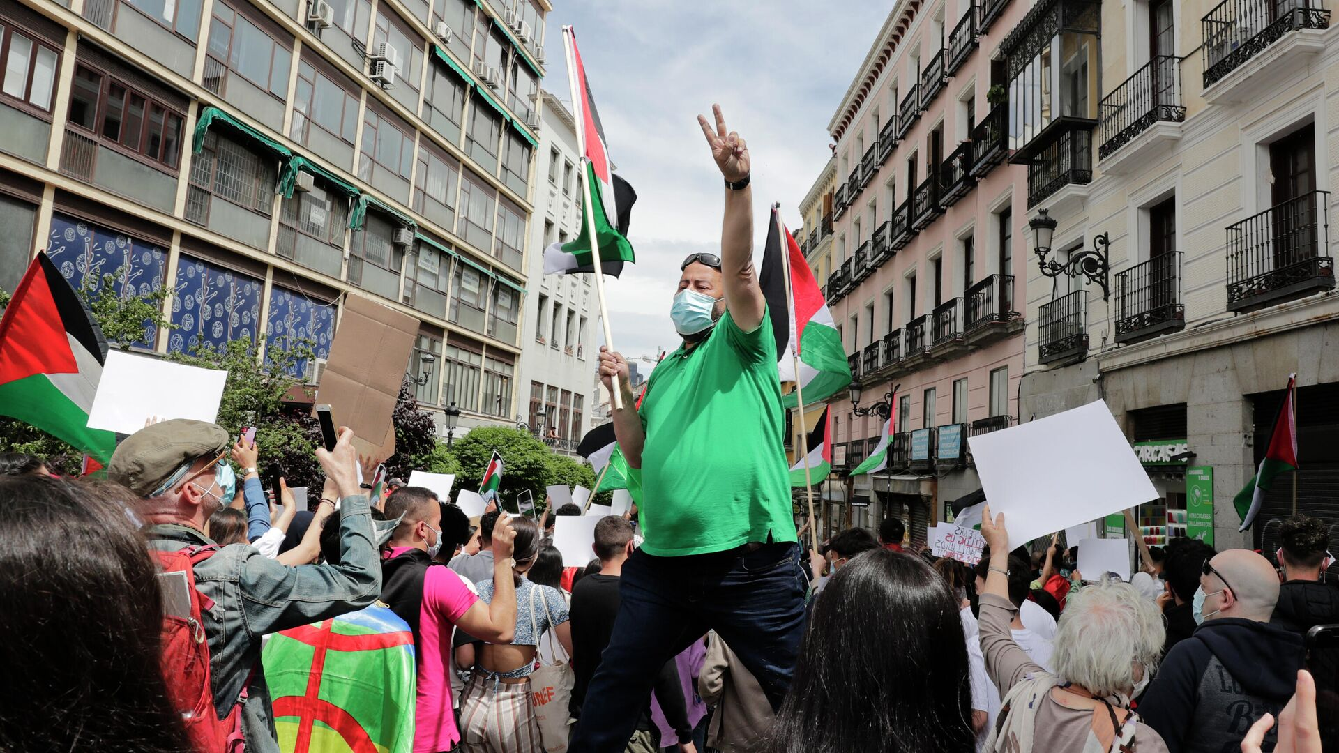 Демонстрация в поддержку Палестины в Мадриде - РИА Новости, 1920, 15.05.2021