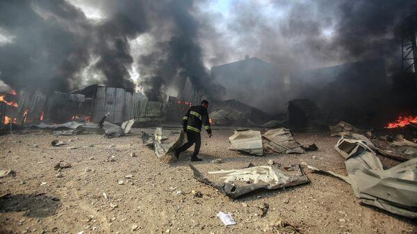 Последствия израильских авиаударов в секторе Газа