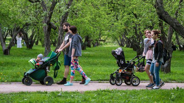 Горожане отдыхают в яблоневом саду в московском музее-заповеднике Коломенское