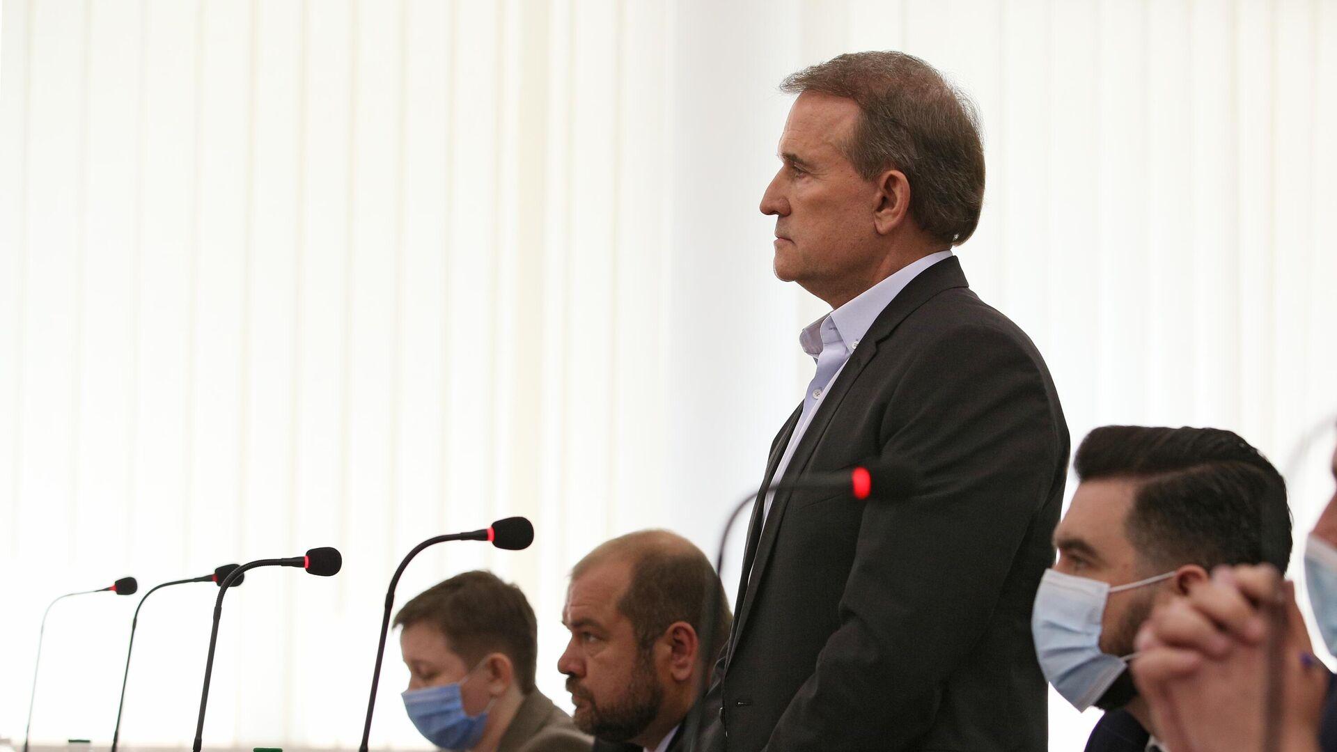 Виктор Медведчук, подозреваемый в госизмене и расхищении национальных ресурсов, в Киевском апелляционном суде - РИА Новости, 1920, 08.07.2021