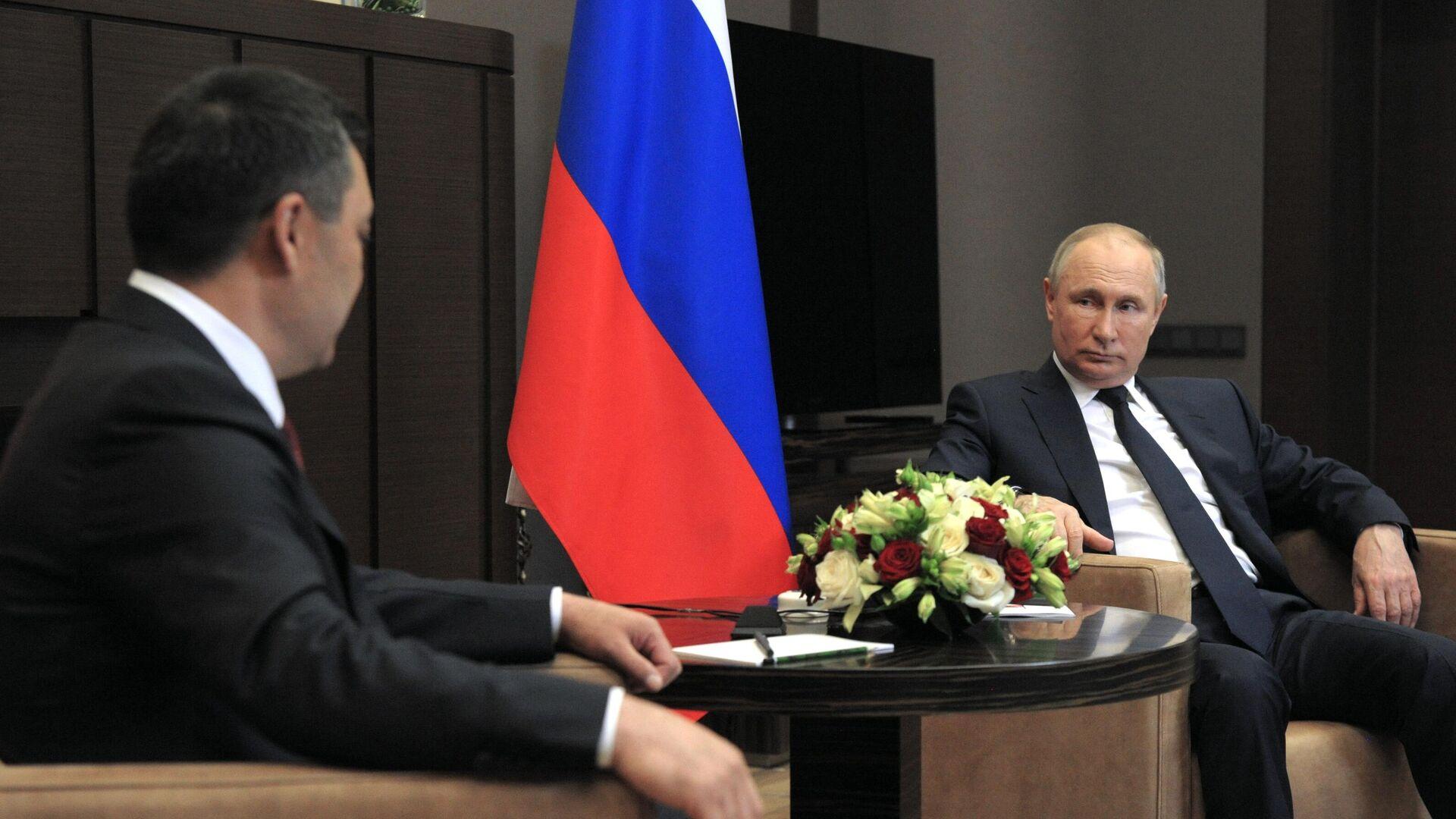 Президент РФ Владимир Путин и президент Киргизии Садыр Жапаров во время встречи - РИА Новости, 1920, 24.05.2021