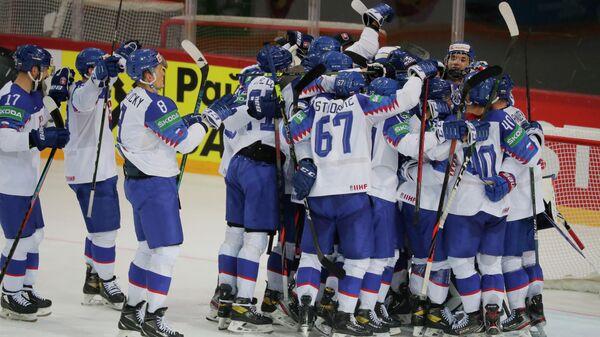 ice Hockey - IIHF World Ice Hockey Championship 2021 - Group A - Slovakia v Denmark - Olympic Sports Centre, Riga, Latvia - May 29, 2021 Slovakia players celebrate after the match REUTERS/Vasily Fedosenko