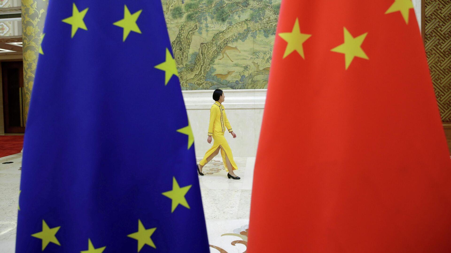 Флаги Евросоюза и Китая в Пекине  - РИА Новости, 1920, 02.06.2021