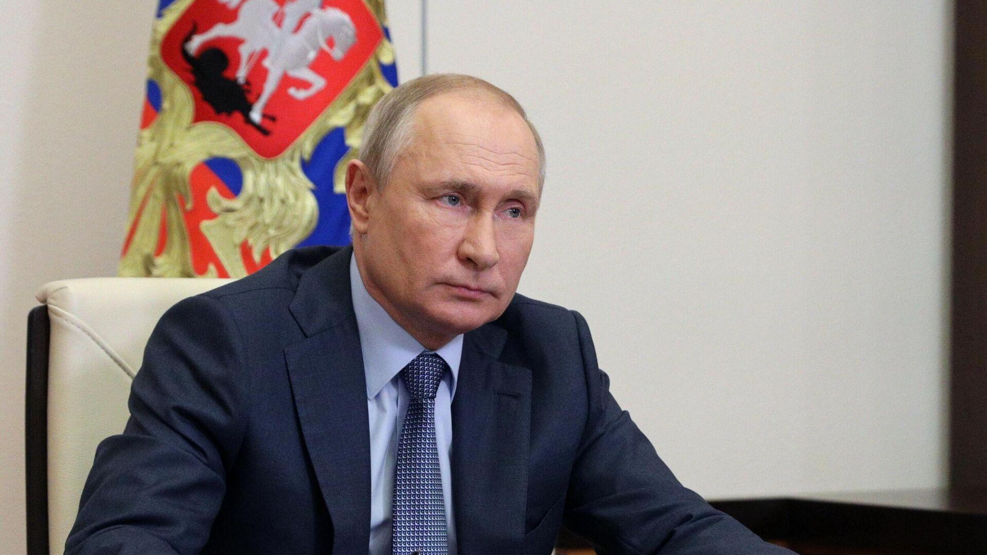 Президент РФ Владимир Путин во время встречи в режиме видеоконференции с представителями социальных организаций - РИА Новости, 1920, 23.06.2021