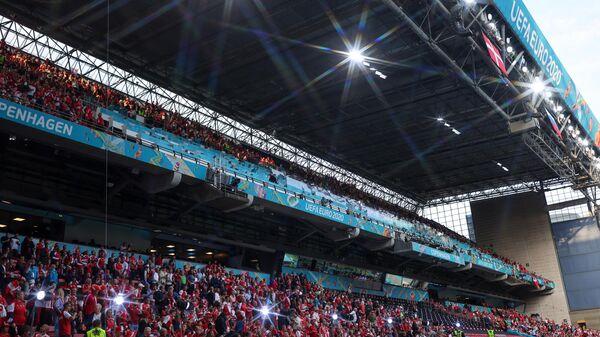 Трибуны стадиона Паркен в Копенгагене перед началом матча сборных России и Дании
