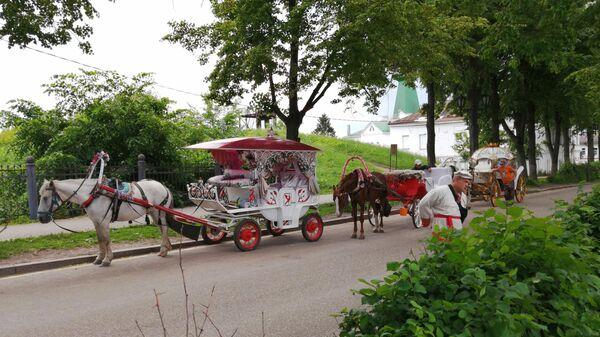 Суздаль. Кареты для туристов на улице Кремлевской
