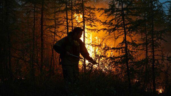Тушение лесного пожара в Якутии