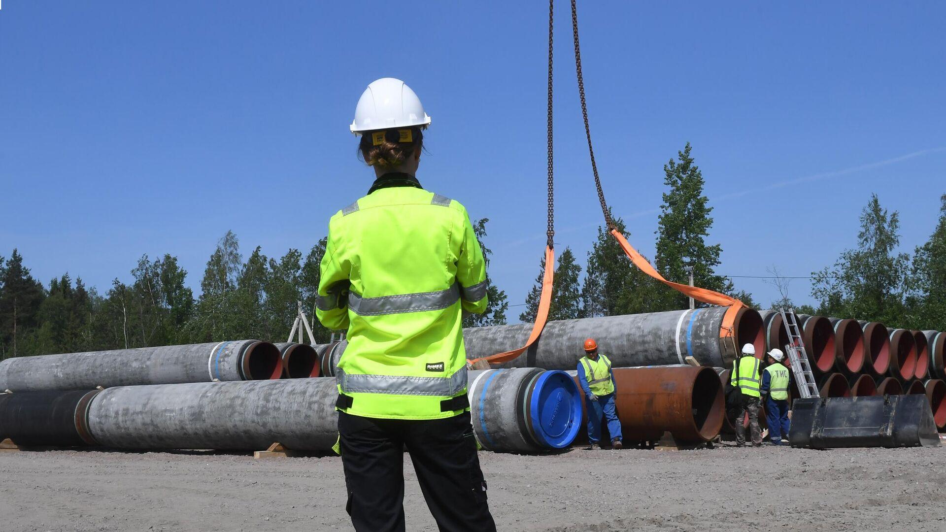 Рабочие на участке строительства газопровода Северный поток-2 - РИА Новости, 1920, 25.07.2021