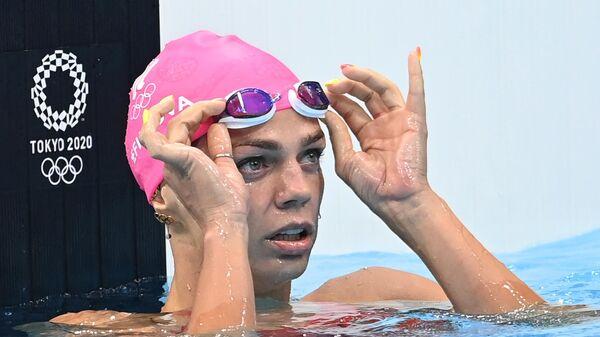 Российская спортсменка, член сборной России (команда ОКР) по плаванию Юлия Ефимова в полуфинальном заплыве на 100 метров брассом среди женщин на XXXII Олимпийских играх.