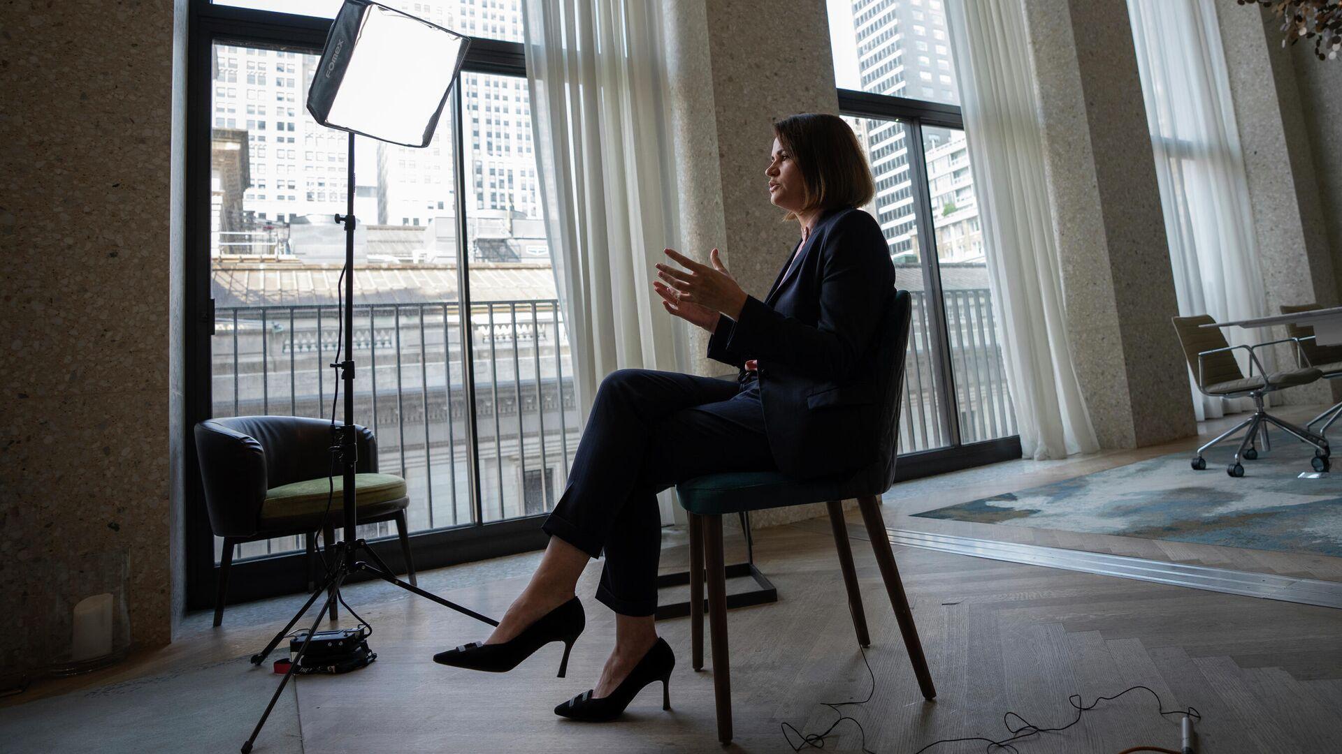 Светлана Тихановская  во время интервью в Нью-Йорке - РИА Новости, 1920, 29.07.2021