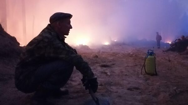 Тушение пожара в поселке Найстенъярви