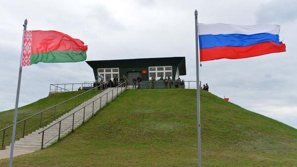 Командный пункт на Осиповичском полигоне в Могилевской области, где проходят совместные стратегические учения вооруженных сил России и Белоруссии