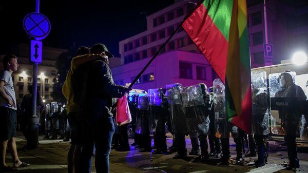 Протесты у здания парламента в Вильнюсе, Литва