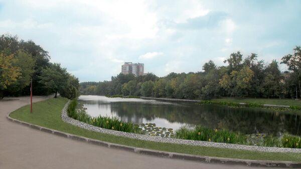 Владимирский пруд в районе Перово на востоке Москвы