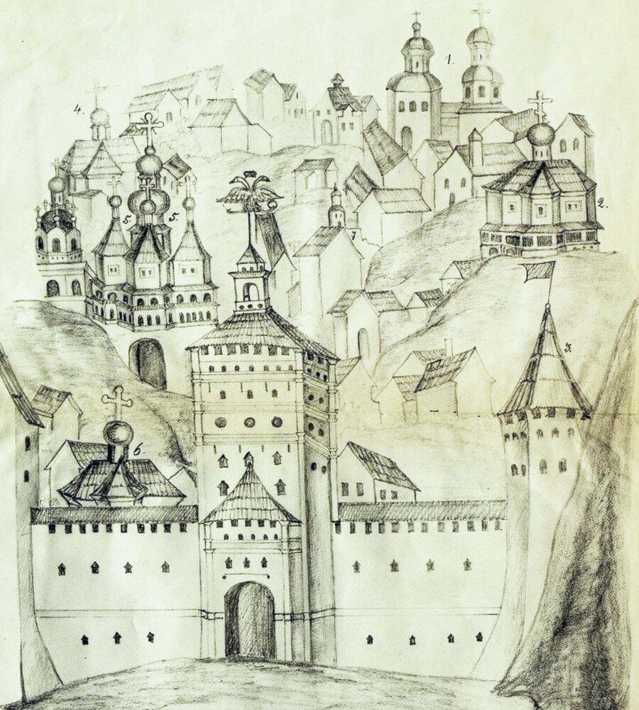Вид Смоленска времен Петра I. Изображение с иконы святых Аврамия и Меркурия Смоленских