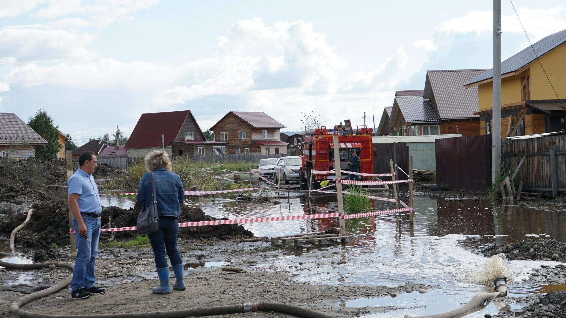 Подтопленная территория села Баклаши в Шелеховском районе Иркутской области - РИА Новости, 1920, 12.09.2021