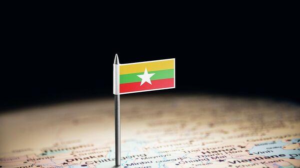 Флаг Мьянмы на карте